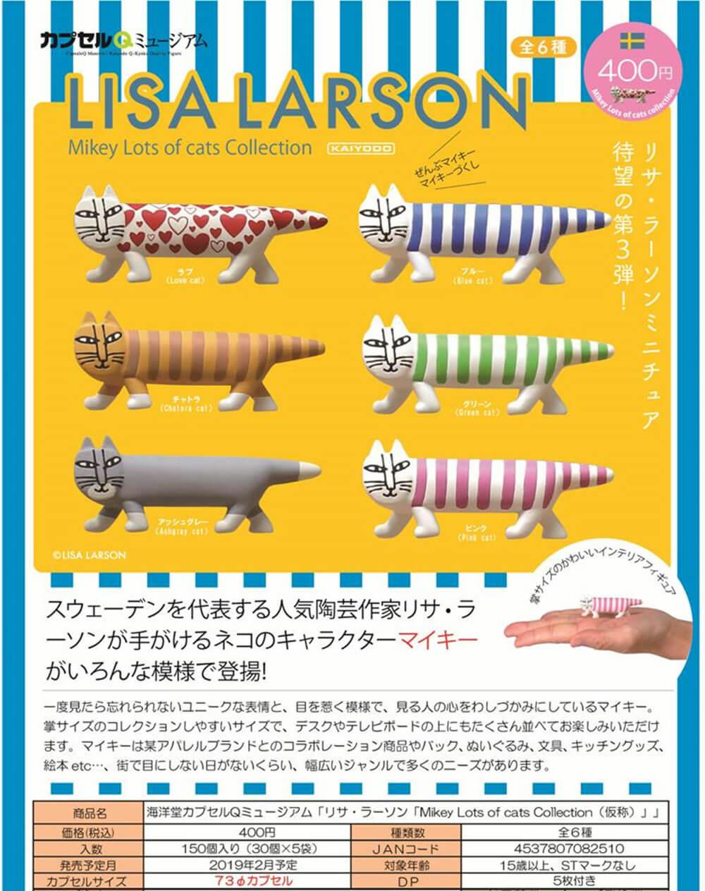 カプセルQミュージアム「リサ・ラーソン Mikey Lots cats Collection[仮称]」(30個入り)
