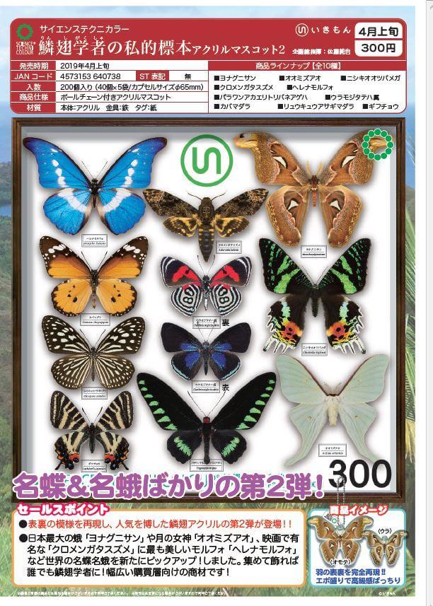 サイエンステクニカラー 鱗翅学者の私的標本アクリルマスコット2(40個入り)